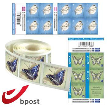 Postzegels België online kopen bij Pandava: 100 zelfklevende postzegels voor genormaliseerde nationale zending tot 50 g, 10 x 10 zelfklevende postzegels voor genormaliseerde prior zending binnen Europese Unie tot 50 g