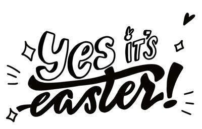 raamtekening Yes It's Easter