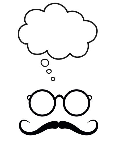 raamtekening Snor met bril en gedachten