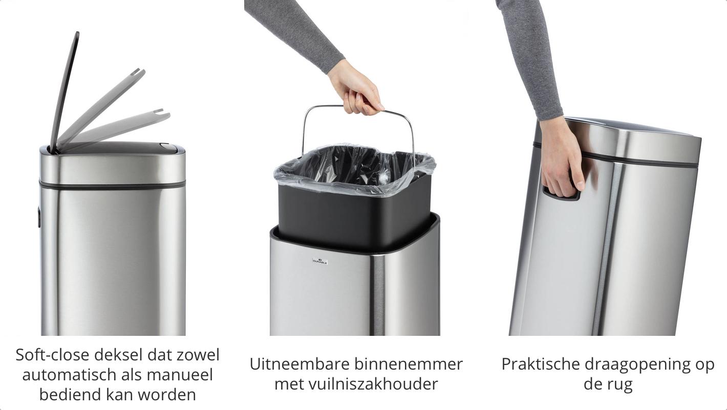 extra kenmerken van de No Touch afvalbak